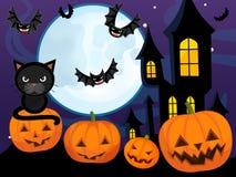 La scena di Halloween del fumetto con la zucca batte il castello ed il gatto illustrazione vettoriale