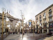 La scena di nativit? nel quadrato di Sant Jaume fotografia stock libera da diritti