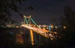 La scena di notte del ponte di Haicang Fotografia Stock
