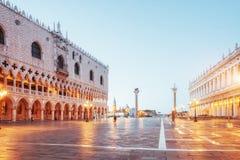 La scena di notte del quadrato di San Marco, Venezia Italia immagini stock