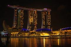 La scena di notte di Marina Bay la vigilia del nuovo anno Fotografie Stock Libere da Diritti