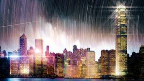 La scena di notte stellata della città alla notte Loopable video d archivio