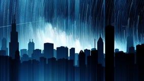 La scena di notte stellata della città alla notte Loopable archivi video