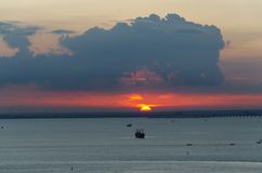 La scena di tramonto sul mare Fotografia Stock Libera da Diritti