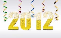 La scheda 2012 di nuovo anno ha fatto dal bubb del champagne Fotografia Stock