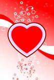 La scheda astratta del biglietto di S. Valentino con il cuore dei fiori modella le stelle, cerchi illustrazione vettoriale