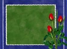 La scheda con colore rosso è aumentato sui precedenti blu scuro Immagini Stock