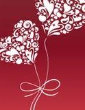 La scheda del biglietto di S. Valentino con il pallone del cuore Fotografie Stock