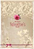 La scheda del biglietto di S. Valentino con pizzo Immagini Stock Libere da Diritti