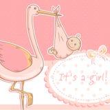 Scheda sveglia di annuncio della neonata con la cicogna ed il bambino Fotografie Stock Libere da Diritti