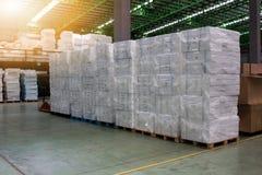 La schiuma tiene del magazzino File degli scaffali con le scatole Immagini Stock Libere da Diritti