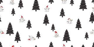La sciarpa di legno della neve della foresta del modello di Natale di Santa Claus di vettore dell'albero senza cuciture del pupaz illustrazione di stock