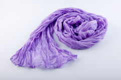 La sciarpa porpora piacevole della donna risiede nel cerchio su fondo bianco Immagini Stock