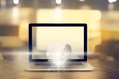 La science abstraite, entourent la connexion réseau globale sur l'ordinateur portable Photographie stock