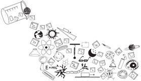 La science de physique, de chimie, de biologie et d'astronomie gribouillent illustration libre de droits