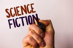 La science-fiction des textes d'écriture de Word Le concept d'affaires pour des aventures fantastiques futuristes de genre de div photos stock