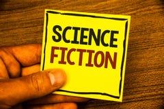 La science-fiction des textes d'écriture de Word Le concept d'affaires pour des aventures fantastiques futuristes de genre de div photo stock