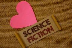 La science-fiction des textes d'écriture Idées fantastiques futuristes d'aventures de genre de divertissement d'imagination de si photos stock
