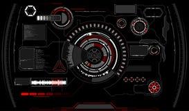 La science fiction HUD Display rougeoyant futuriste Écran de technologie de réalité de Vitrual images stock