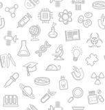La Science, fond blanc, icônes de découpe, monochrome, sans couture, vecteur illustration de vecteur