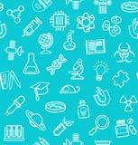 La Science, fond bleu-vert, icônes de découpe, monochrome, sans couture, vecteur Images stock