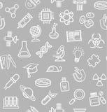 La Science, fond gris, icônes de découpe, monochrome, sans couture, vecteur Photographie stock libre de droits