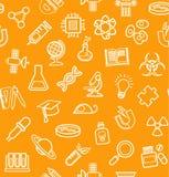 La Science, fond orange, icônes d'ensemble, monochrome, sans couture, vecteur Photos libres de droits
