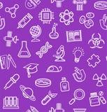 La Science, fond pourpre, icônes de découpe, monochrome, sans couture, vecteur Photographie stock libre de droits