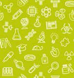 La Science, fond vert, icônes de découpe, monochrome, sans couture, vecteur Image stock