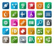 La Science, icônes, colorées, appartement, vecteur illustration stock