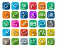 La Science, icônes, dessin de découpe, couleur, vecteur Image libre de droits