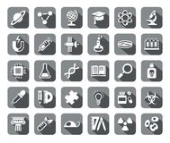 La Science, icônes, gris, plat, vecteur Photographie stock