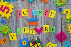 La scienza uguaglia l'iscrizione futura Fotografia Stock