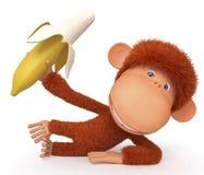 La scimmia con la banana Fotografia Stock Libera da Diritti