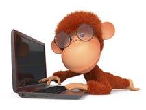 La scimmia rossa con il computer portatile Fotografia Stock