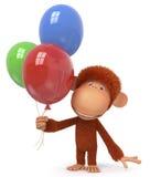 La scimmia rossa con il pallone Fotografia Stock Libera da Diritti