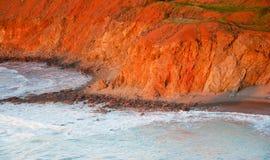 La scogliera della spiaggia ha bagnato nella luce di pomeriggio in Pomos, Cipro Fotografia Stock