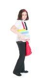 La scolara con un sacchetto rosso Fotografie Stock