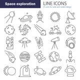 La scoperta e l'esplorazione della linea icone dello spazio messe Fotografie Stock Libere da Diritti