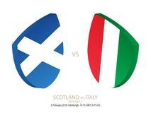 La Scozia contro l'Italia, rugby 2019 sei campionati di nazioni, giro 1 royalty illustrazione gratis