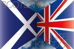 La Scozia contro le bandiere del Regno Unito Fotografie Stock