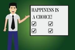 La scrittura concettuale della mano che mostra la felicità è una scelta Allegro felice di soggiorno del testo della foto di affar illustrazione vettoriale