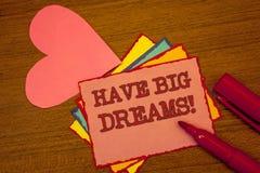 La scrittura del testo della scrittura ha chiamata motivazionale di grandi sogni Ambizione futura Desire Motivation Goal Text p v immagine stock libera da diritti