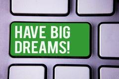 La scrittura del testo della scrittura ha chiamata motivazionale di grandi sogni Ambizione futura Desire Motivation Goal White Te fotografia stock libera da diritti