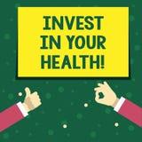La scrittura del testo della scrittura investe nella vostra salute Il significato di concetto spende i soldi nel preventivo demon illustrazione vettoriale