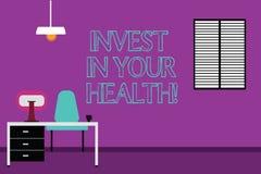 La scrittura del testo della scrittura investe nella vostra salute Il significato di concetto spende i soldi nel preventivo demon royalty illustrazione gratis
