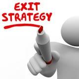 La scrittura dell'uomo di strategia di uscita esprime l'indicatore Pen Planning Immagini Stock