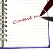 La scrittura della penna se li mette in contatto con Immagini Stock