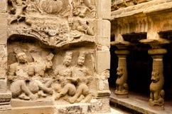 La sculpture découpée dans le temple de Kailasanath est le temple le plus ancien de K Images libres de droits