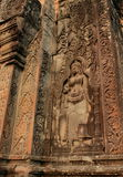 La sculpture dans Angkor Vat, Cambodge Photographie stock libre de droits